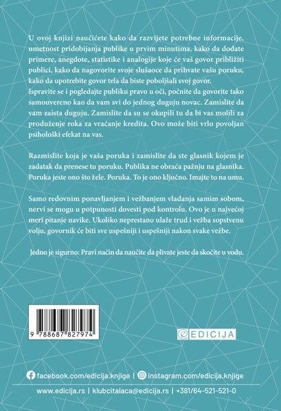 Knjiga Javnim nastupom do uspeha - autor Dejl Karnegi - Zadnja korica
